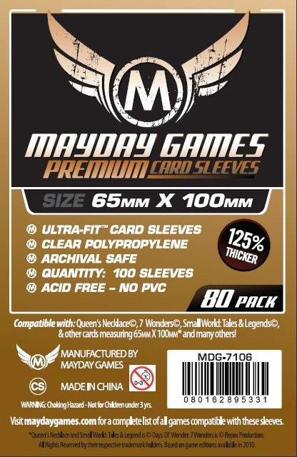 Premium Magnum Ultra-Fit Sleeves: 65 MM X 100 MM (80 per pack) by Mayday Games