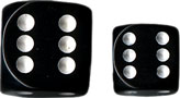 Dice - Opaque: 16mm D6 Black with White (Set of 12) by Chessex Manufacturing