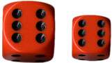 Dice - Opaque: 12mm D6 Orange with Black (Set of 36) by Chessex Manufacturing