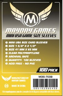 Card Sleeves - Mini USA 41 x 63mm Clear Sleeves (100) by Mayday Games
