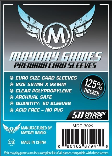 Premium Euro Card Sleeves (59 MM X 92 MM) 50 ct. by Mayday Games