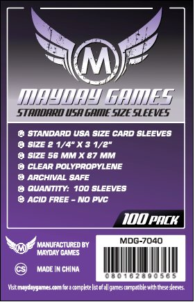 Card Sleeves - Standard USA 56 x 87mm Clear Sleeves (100) by Mayday Games