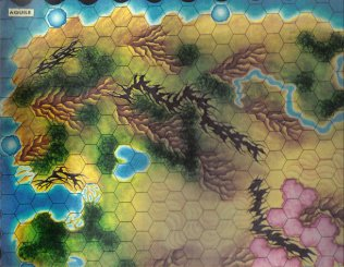 Warangel Accessory - Hexed Map of 1st Generation - Eagles {Aquile} (West USA) by Angelo Porazzi Games